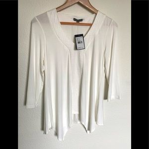 Adrianna Papell White 3/4 Sleeve V-Neck Top Small